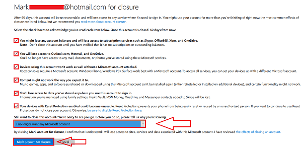 Terminate Hotmail Account
