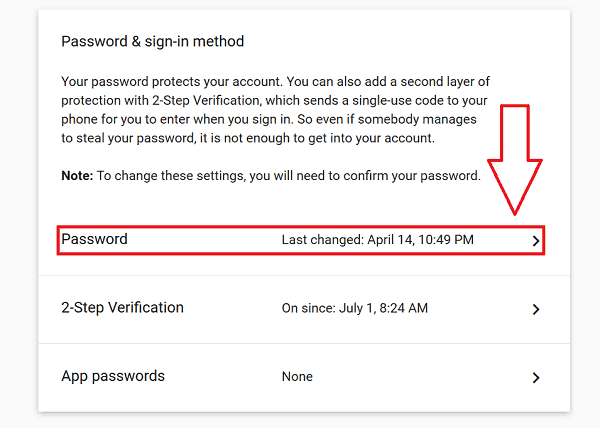 Gmail Login Password Change
