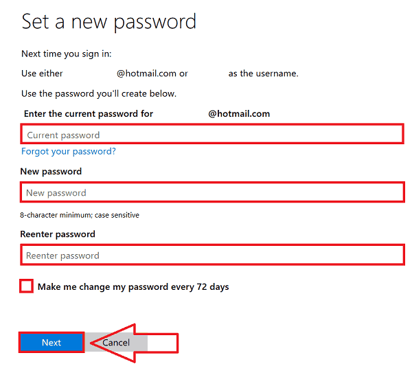 Hotmail Password Change