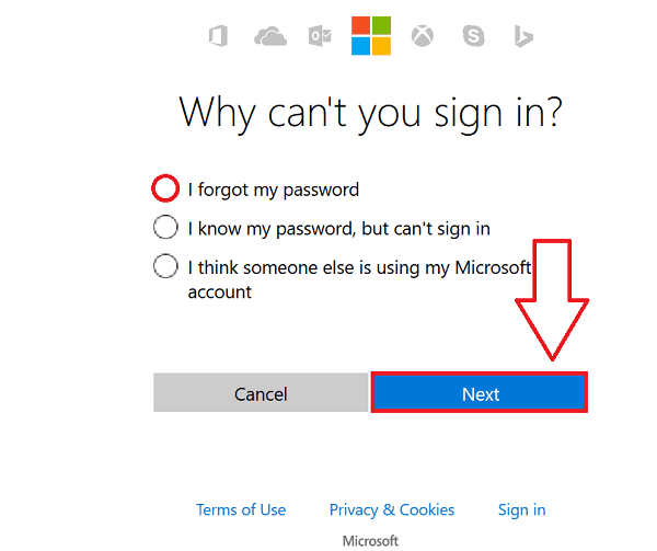 Reset Hotmail Password step 1