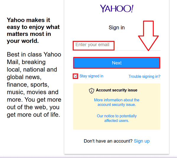 Yahoo Mail Sign In