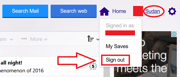 Yahoo Sign Out