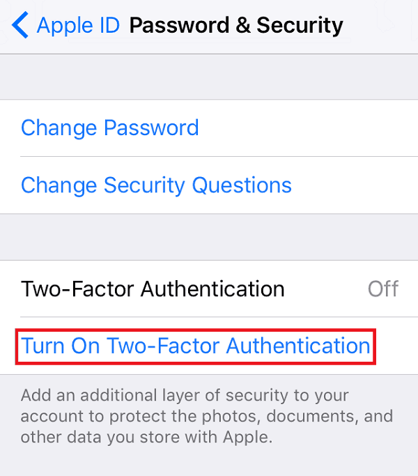 Two-Factor Authentication Apple