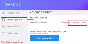 Yahoo change password
