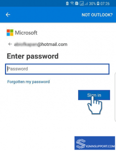 enter hotmail email password for login