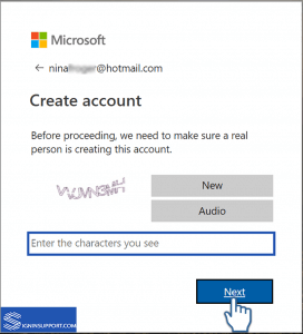 hotmail sign up captcha