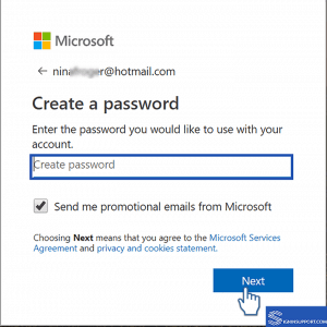 Hotmail Sign Up create password