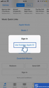 iTunes Store App existing user sign in
