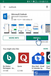 Install outlook app on mobile