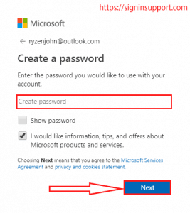 create password for outlook signup